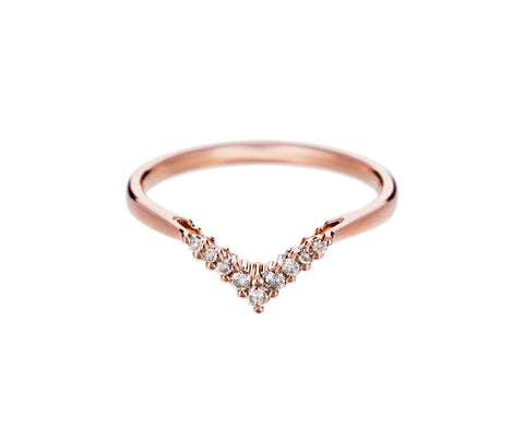 Rose Gold Champagne Diamond Petit Chevron Ring - TWISTonline