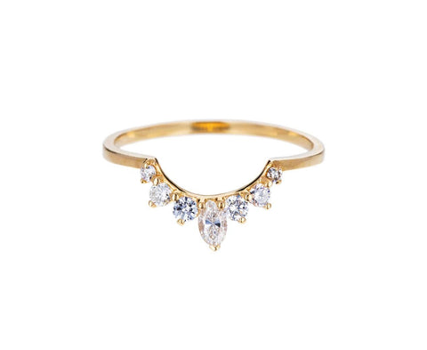 Yellow Gold Marquise Tiara Diamond Band - TWISTonline