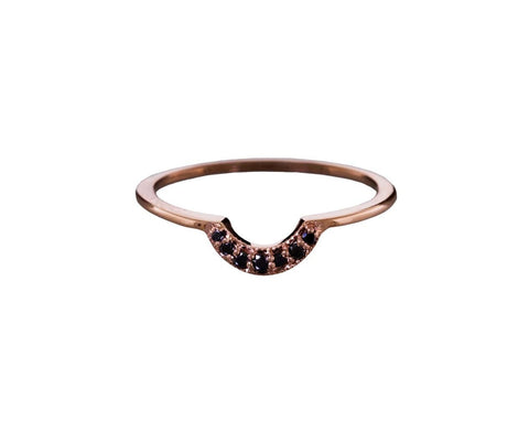 Tiny Crescent Band with Black Diamonds - TWISTonline