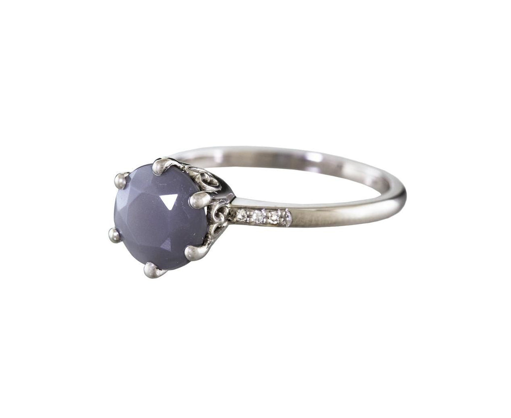 Gray Moonstone and Diamond Hazeline Solitaire - TWISTonline