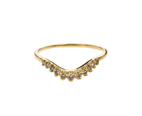 Yellow Gold Diamond Tiara Curve Band - TWISTonline