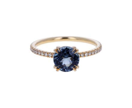 Gray Spinel and Diamond Eleonore Delicate Pavé Ring