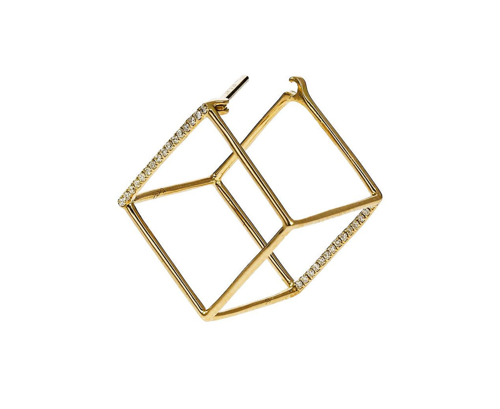 Medium Two Diamond Line Cube SINGLE EARRING - TWISTonline
