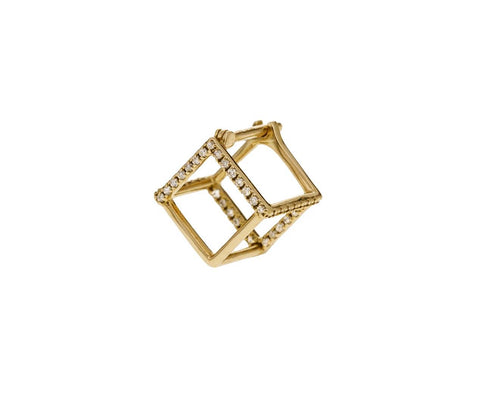 Extra Small Six Diamond Line Cube SINGLE EARRING - TWISTonline
