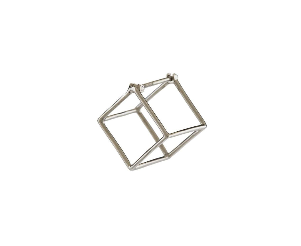 White Gold Small Open Cube SINGLE EARRING zoom 1_shihara_white_gold_small_square_earring