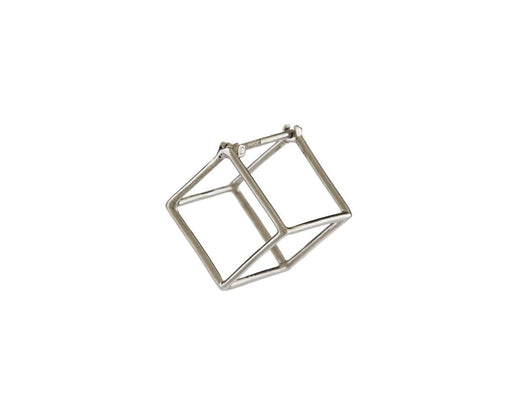White Gold Small Open Cube SINGLE EARRING - TWISTonline