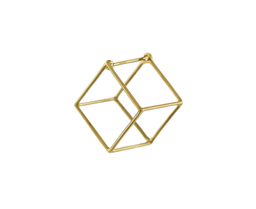 Medium Open Cube SINGLE EARRING zoom 1_shihara_gold_medium_open_cube_earrings