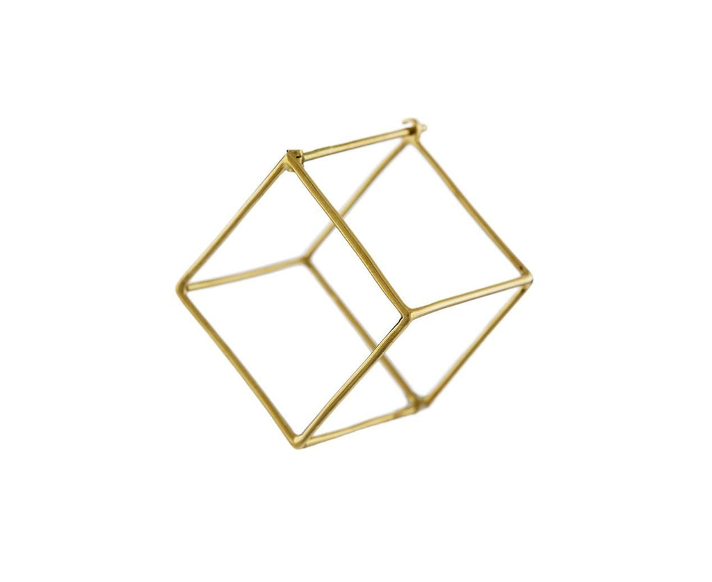 Large Open Cube SINGLE EARRING zoom 1_shihara_gold_large_open_cube_earrings