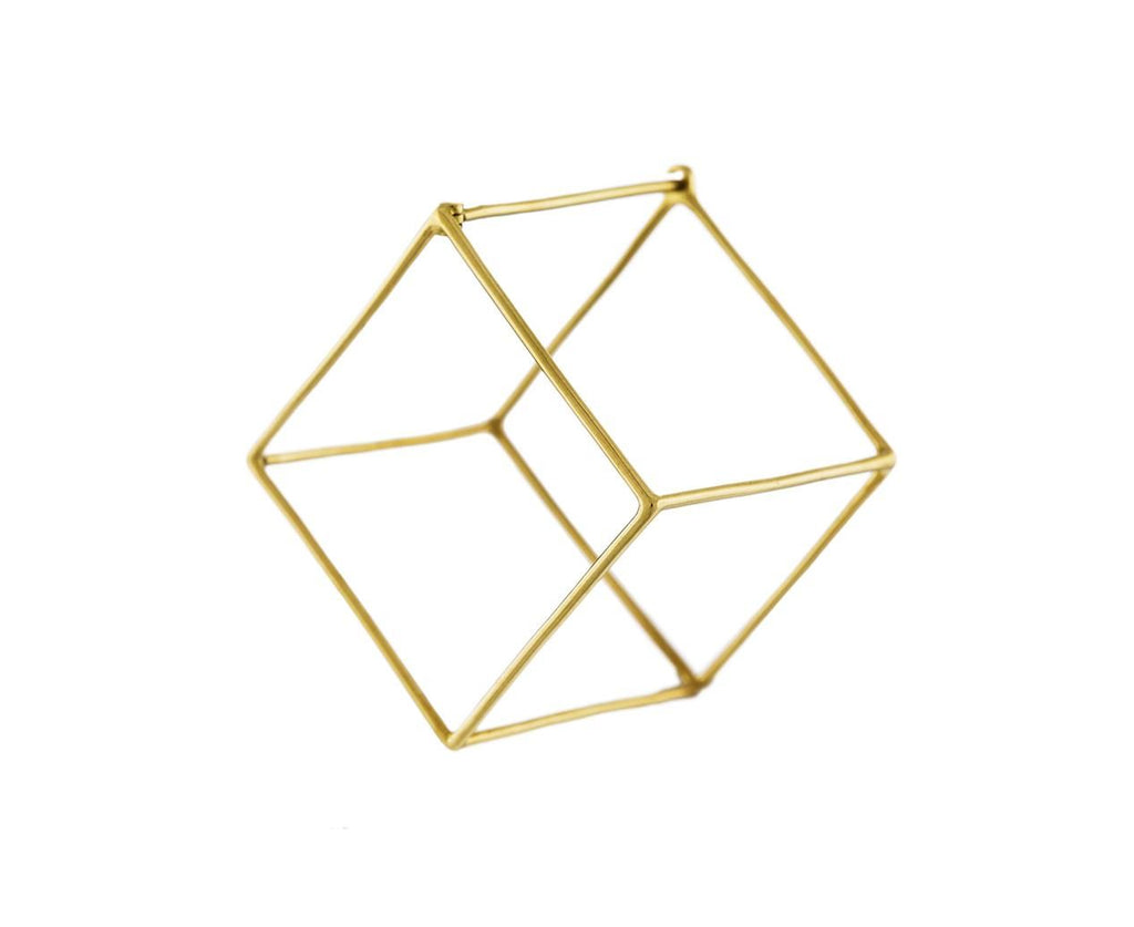 Extra Large Open Cube SINGLE EARRING zoom 1_shihara_gold_extra_large_open_cube_earrings