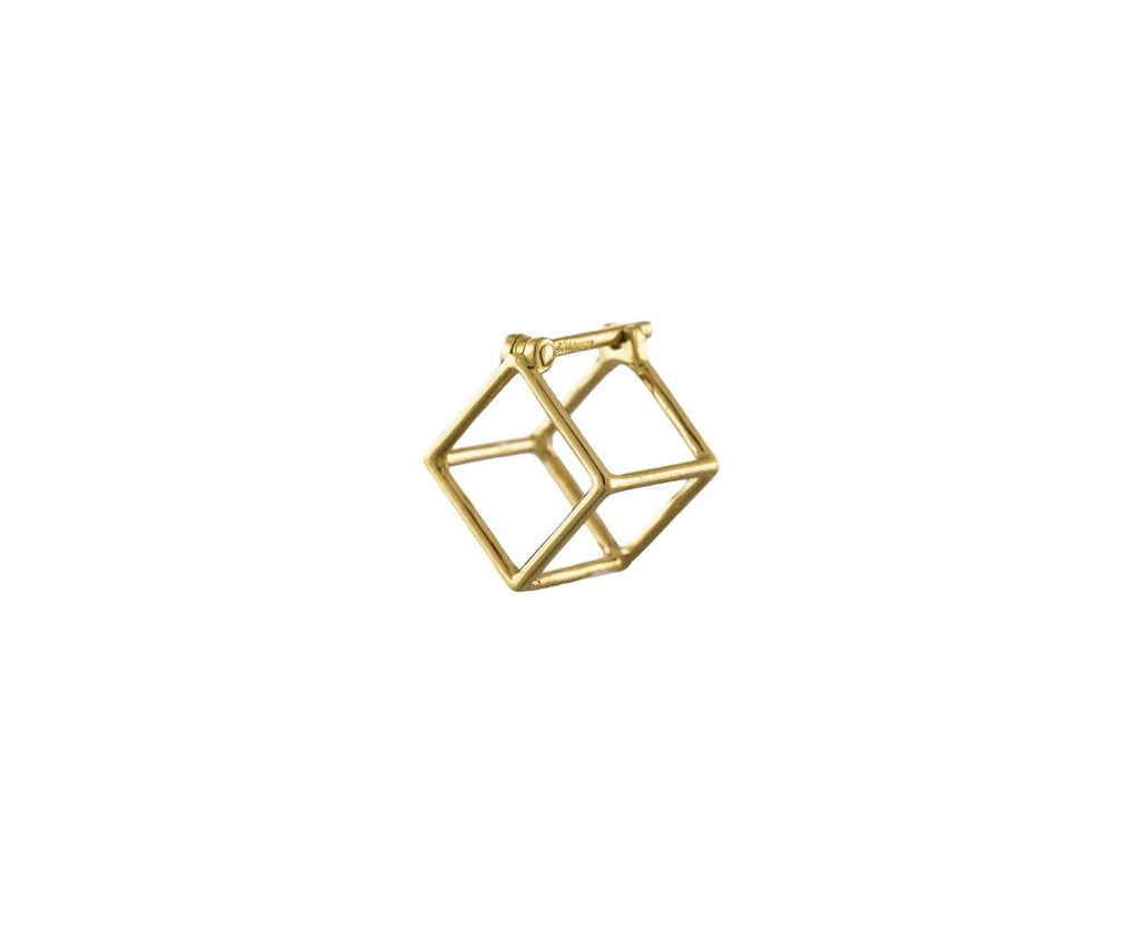Extra Small Open Cube SINGLE EARRING zoom 1_shihara_gold_small_square_earrings