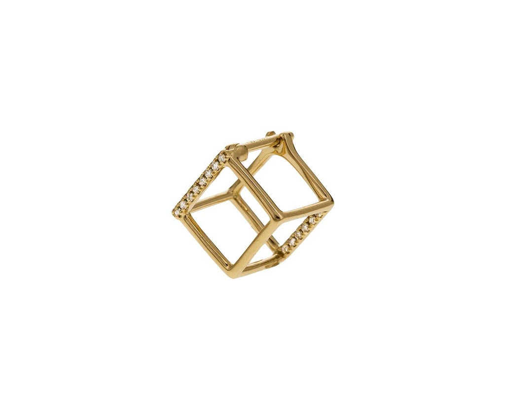 Extra Small Two Diamond Line Cube SINGLE EARRING zoom 1_shihara_gold_diamond_extra_small_cube_earring