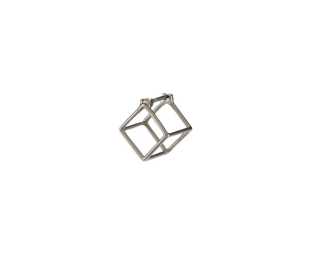 Extra Small White Gold Open Cube SINGLE EARRING zoom 1_shihara_white_gold_extra_small_square_earring