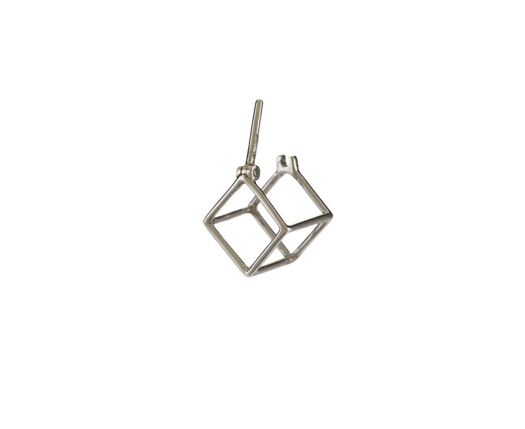 Extra Small White Gold Open Cube SINGLE EARRING - TWISTonline