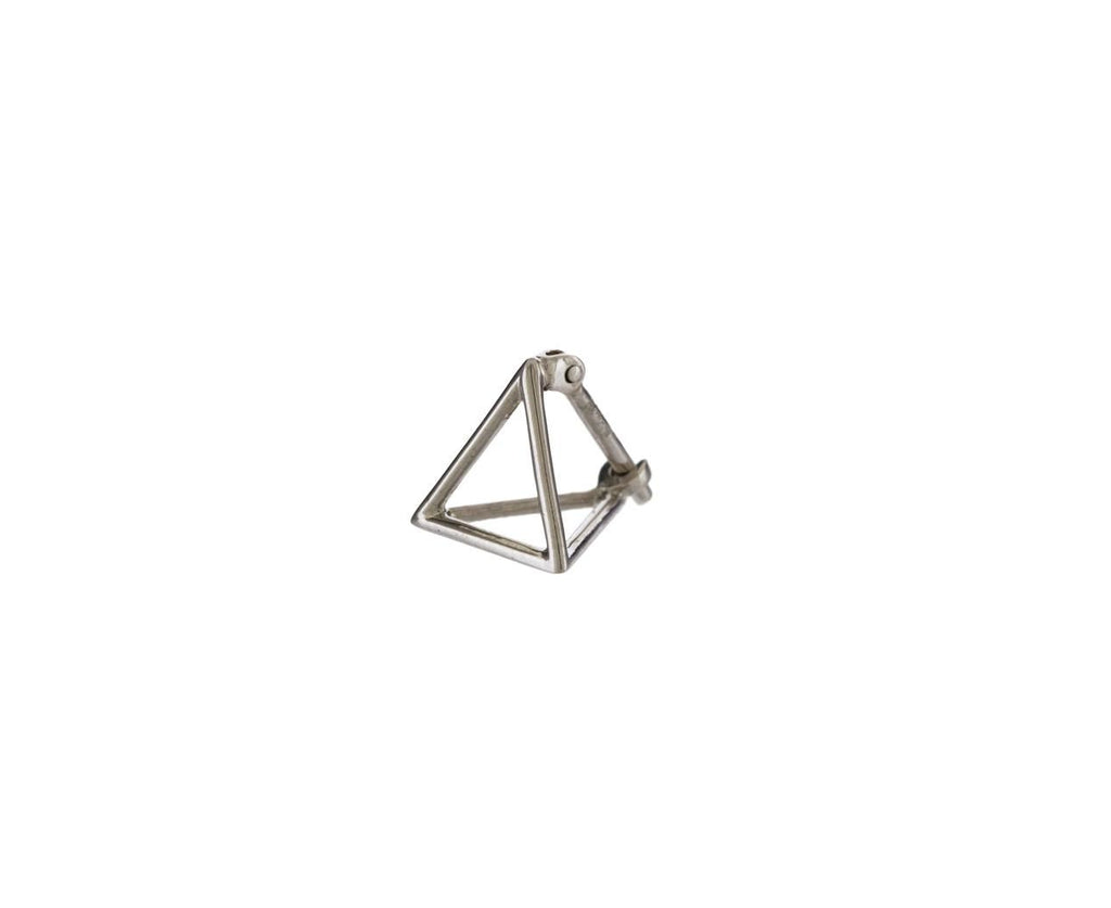 Extra Small White Gold Open Pyramid SINGLE EARRING zoom 1_shihara_white_gold_small_pyramid_earring