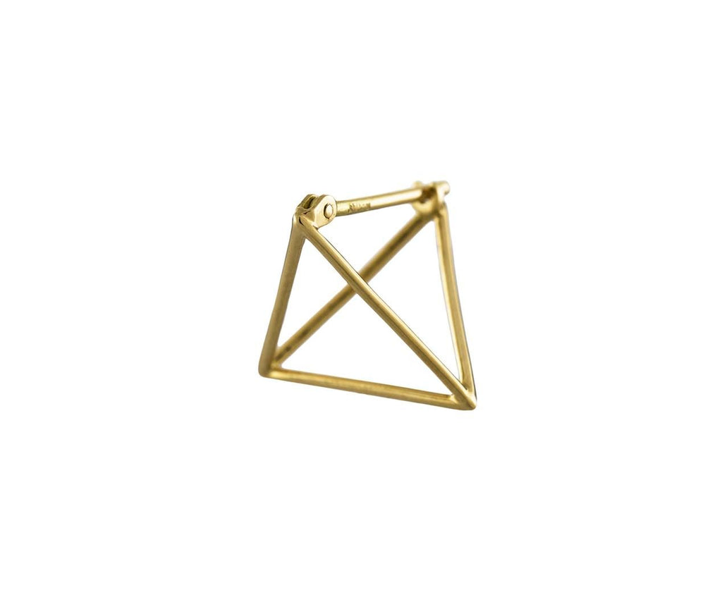 Small Open Pyramid SINGLE EARRING zoom 1_shihara_gold_large_triangle_earrings