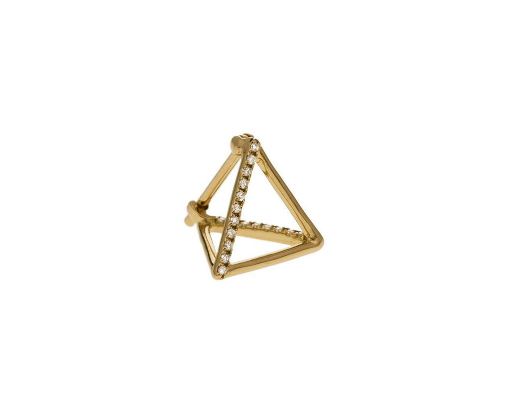 Extra Small Two Diamond Line Pyramid SINGLE EARRING zoom 1_shihara_gold_diamond_extra_small_pyramid_earring