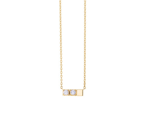 Double Diamond Block Necklace