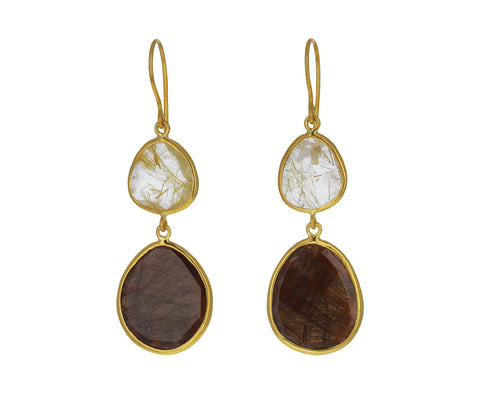 Honey Sapphire and Rutilated Quartz Autumn Harvest Double Drop Earrings
