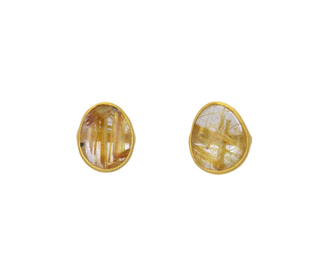 Rutilated Quartz Autumn Harvest Stud Earrings