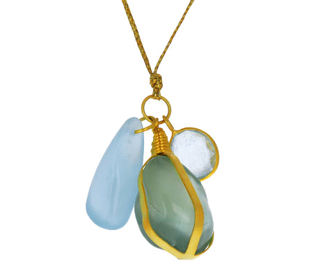 Aquamarine Three Stone Cluster Parcel Pendant Necklace
