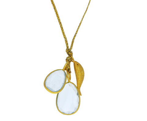 Aquamarine Double Colette and Herring Pendant Necklace