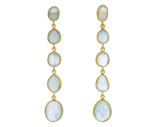 Aquamarine Glacier Five Drop Earrings