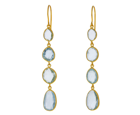 Aquamarine Glacier Four Drop Earrings