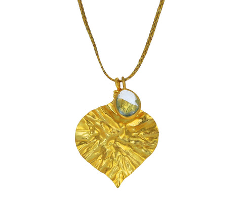 Aquamarine Peepal Leaf Colette Pendant Necklace