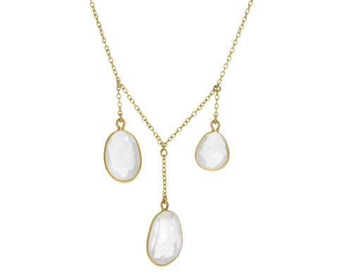 Rainbow Moonstone Alinn Triple Pendant Necklace