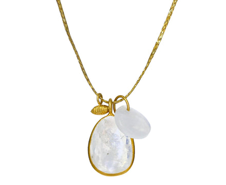 Rainbow Moonstone and Gold Seed Colette Pendant Necklace - TWISTonline