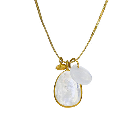 Rainbow Moonstone and Gold Seed Colette Pendant Necklace
