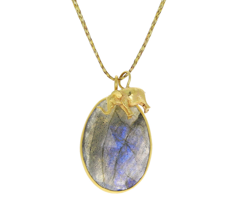 Labradorite and Elephant Charm Colette Pendant Necklace