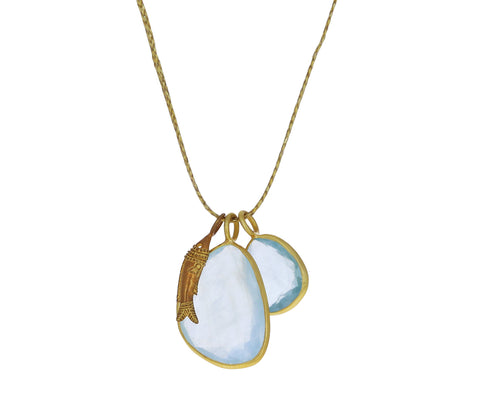 Double Colette Aquamarine and Gold Fish Pendant Necklace