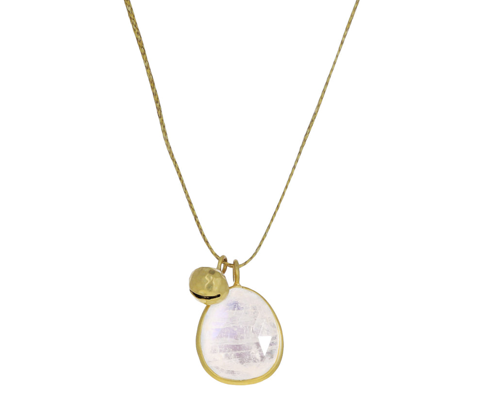 Rainbow Moonstone Colette and Gold Bell Pendant Necklace