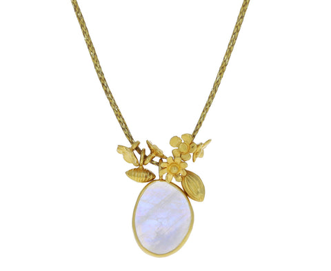 Rainbow Moonstone Colette Cluster Pendant Necklace