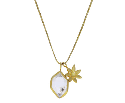 Herkimer Quartz and Gold Flower Colette Pendant Necklace