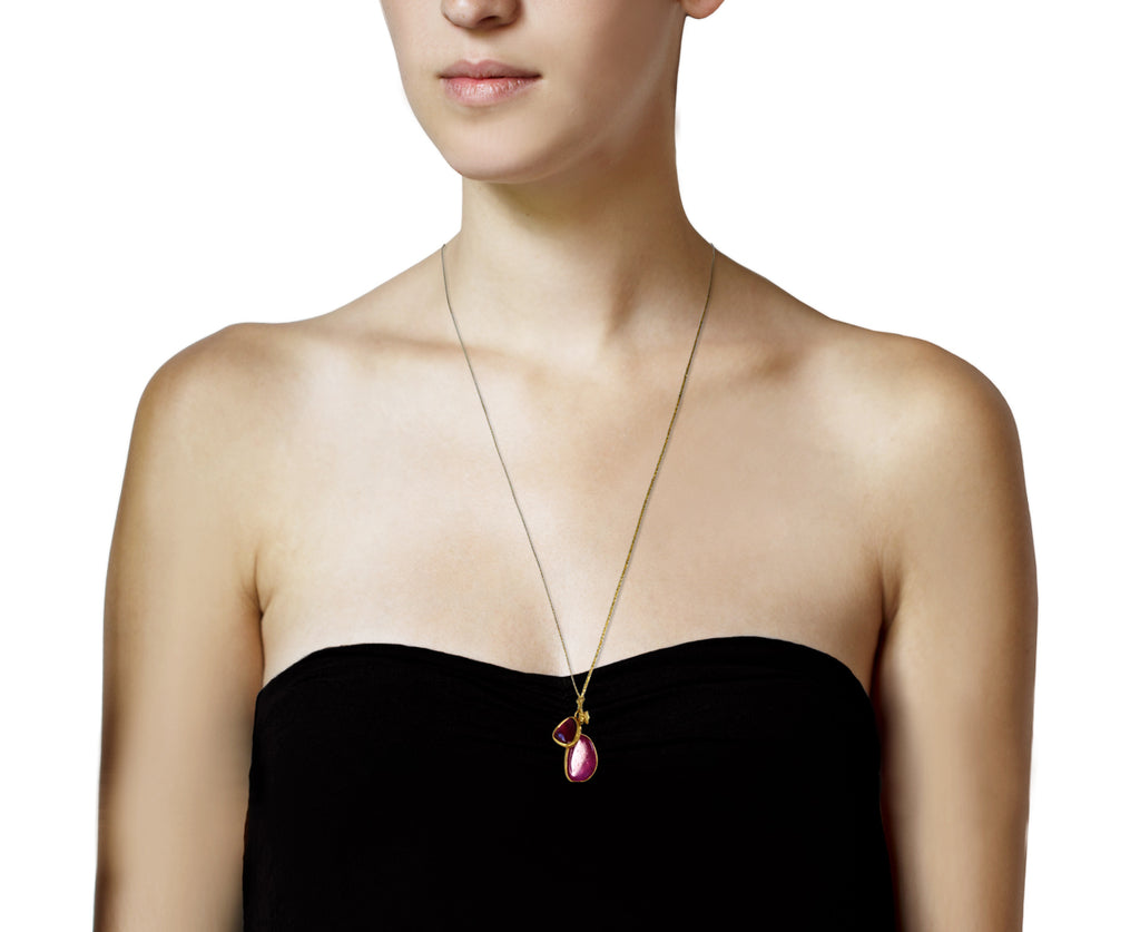 Ruby and Pink Tourmaline Double Colette Pendant Necklace