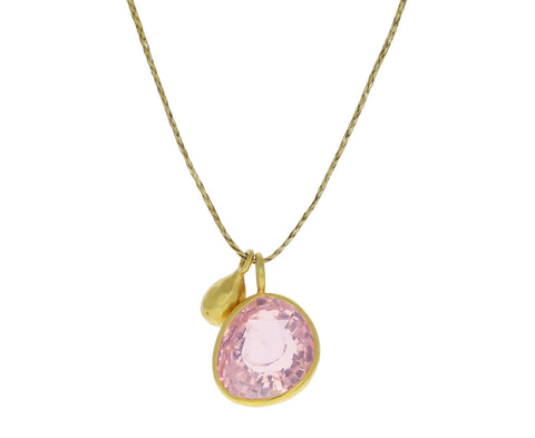 Rose Quartz and Gold Drop Colette Pendant Necklace