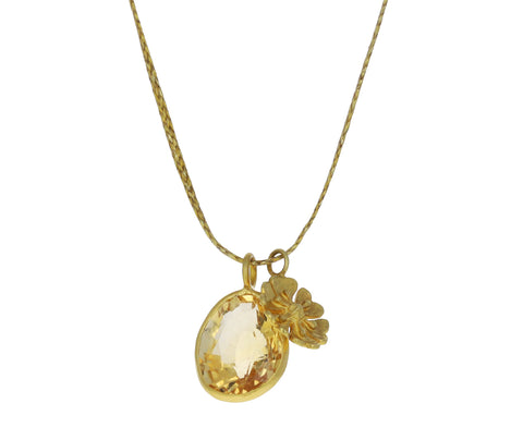 Mughal Dreams Citrine and Flower Pendant Necklace
