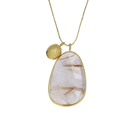 Large Rutilated Quartz and Gold Bell Colette Pendant Necklace