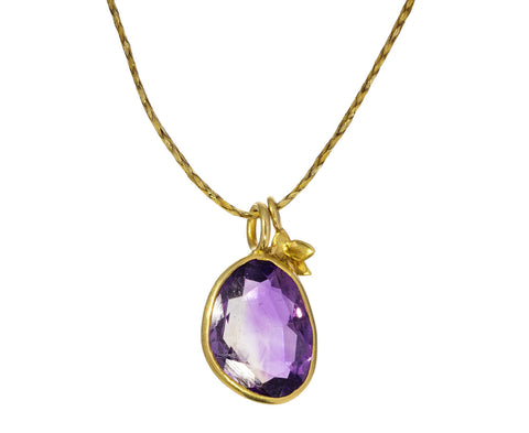 Amethyst and Flower Pendant Necklace