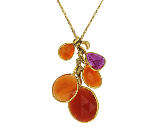 Carnelian and Ruby Rosy Dawn Colette Cluster Necklace