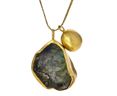 Rough Labradorite and Bell Pendant Necklace