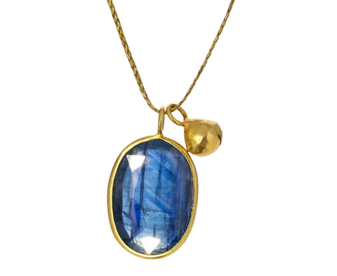 Kyanite and Pod Bell Pendant Necklace