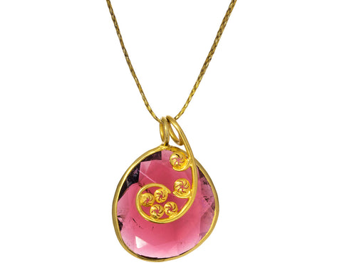 Pink Tourmaline and Gold Fern Frond Pendant Necklace
