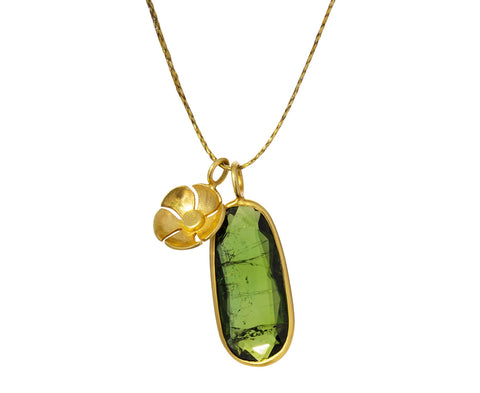 Green Tourmaline Flower Pendant Necklace