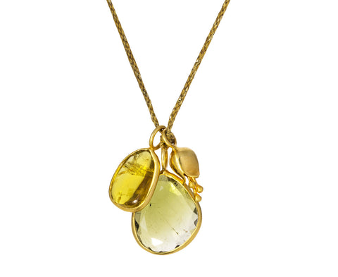 Tourmaline and Gold Bluebell Pendant Necklace