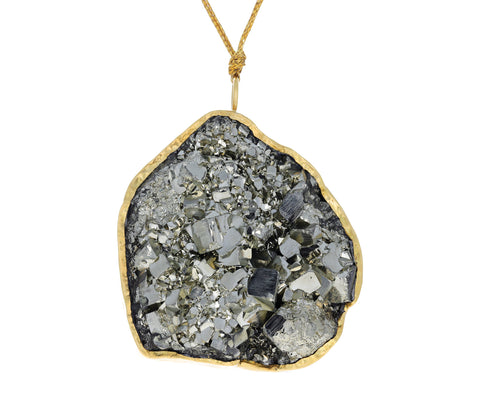 Extra Large Pyrite  Dazzle Pendant Necklace
