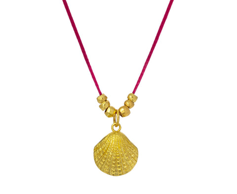 Gold Scallop Shell and Ancient Bead Necklace - TWISTonline