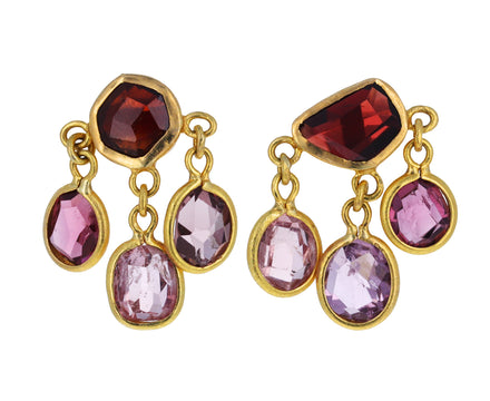 Pink and Purple Spinel Nandar Three Drop Earrings